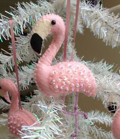 Pink Felt Flamingo Christmas Ornament Beaded by lindasornaments