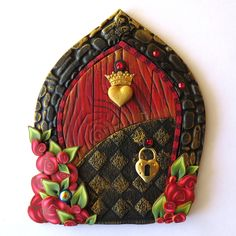 Royal Heart Valentine Fairy Door, Pink Hearts Pixie Portal, Holiday Decor by Claybykim on Etsy