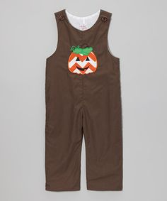 Take a look at this Brown Pumpkin Appliqué Overalls - Infant & Toddler by Smocked or Not on #zulily today!