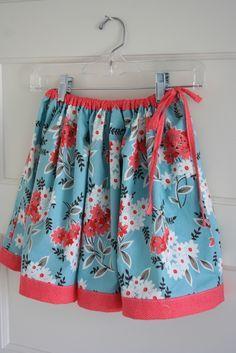 DIY Retro Knee-Length Full Twirly Skirt w/ Contrasting Fabric Trim/Hem + Side Tie (Mix of Prints + Solid Colors)