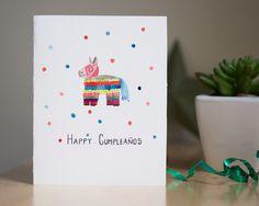 Happy cumpleaños card, handmade card, birthday card by AmoryPapel on Etsy