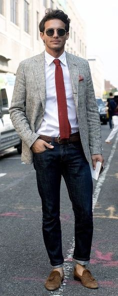 Business casual inspiration with a gray linen blazer white button up shirt red knit tie sunglasses black silk pocket square brown braided leather belt dark was blue jeans no show socks brown suede loafers. Mode Masculine, Look Street Style, Street Styles, Casual Chic, Smart Casual, Style Costume Homme, Beautiful Boys, Mens Fashion Blazer, Look Man