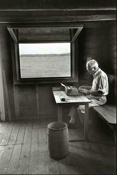E. B. White at work
