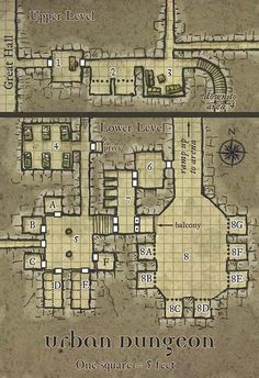 Urban Dungeon Map Arena Great Hall several passages