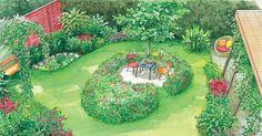 Die Besitzer dieses Stadtgarten wünschen sich neue Gestaltungsideen. Wir präsentieren Ihnen zwei Vorschläge, die den vorhandenen Amberbaum integrieren und einen kleinen Nutzgarten beinhalten. Mit Pflanzplänen als PDF zum Herunterladen und Ausdrucken.