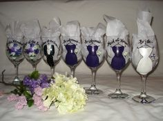 Hand painted and personalized wedding wine glasses and beer mugs purchased from Stephanie on Etsy.