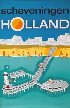DP Vintage Posters - Scheveningen, the Netherlands - Travel Illustration, Retro Illustration, Vintage Advertisements, Vintage Ads, Rotterdam, La Haye, Kingdom Of The Netherlands, Travel Ads, The Hague