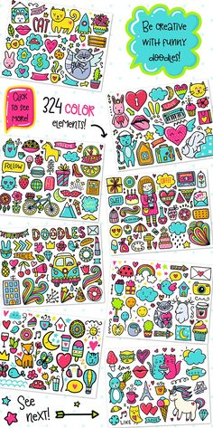 700 Doodles & Patterns - Clipart Set by Qilli on @creativemarket