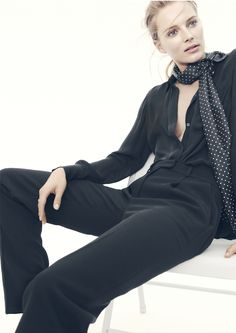 J.Crew Collection wide-leg trouser, classic silk blouse and silk dot scarf.