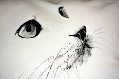 ręcznie malowana poszewka z kotem  50x50cm