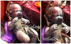 Custom SPFX Zombie Mom prothetic Belly Hand Painted Zombie Baby with umbilical cord created by VisualEyeCandy