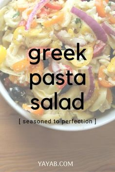 Got 20 minutes, you'll love this pasta salad for the holidays, it's a quick pasta recipe that has a secret all purpose seasoning that gives it a punch of deliciousness. Worlds best Quick Pasta Recipes, Easy Pasta Salad Recipe, Spinach Recipes, Recipes Dinner, Veggie Recipes, Cocktail Recipes, Easy Recipes, Greek Chicken Recipes, Greek Recipes