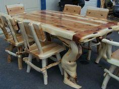 Custom Built Juniper Dining Tables http://www.logfurnitureguy.com hand crafted log furniture