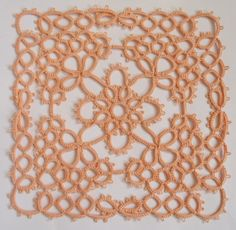 Love the color and the style/pattern (?) ....Handmade tatting square doily light peach  Gift for by ShopGift, $9.00