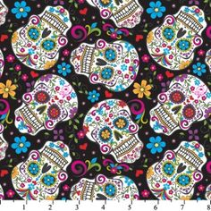Dias de los muertos fabric.  David Textiles - Skulls Black