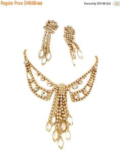 Ice Drippy Crystal Rhinestone Necklace and by Vintageimagine