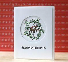 PTI~Santa's Sleigh die cut panel with image in die cut circle, white on white