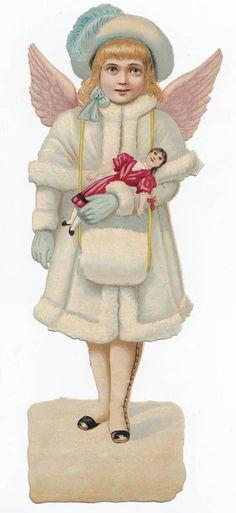 Victorian Scrap — Christmas Angel, 1880's  (471×1025)