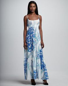 Printed Voile Maxi Dress, Blue by Emilio Pucci at Neiman Marcus.
