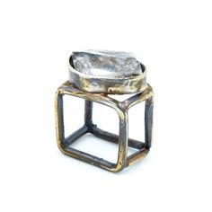 Sterling silver oxidized and aged square band ring, set with Quartz