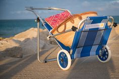 Product information: RRP 54.99                   Delivery FREE MaterialPVC coated cotton Colour Nautical StripeDimensions(L X W)102cm X 54cmWeight4.3kg  Description: Take everything you need for your family to the beach and then relax. The blue beach sun lounger trolley exudes summer fun. The smooth rimmed white and blue wheels compliment the blue fabric offering a stylish and practical beach transporter. Product Specifications: Size(L X W): 102cm X 54cmSunshade: H73cmFabric: PVC coated…