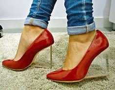 Maison Martin Margiela H M Red Invisible Transparent Heel Pump Shoes Wedges