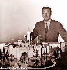 Walt and original model of Sleeping Beauty Castle