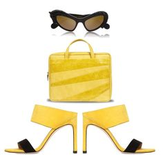 Sergio Rossi Mules SS 2016 - Yellow Trend Bag Sunglasses
