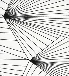 Erica Wakerly Fan fabric in Black and White - geometric lines