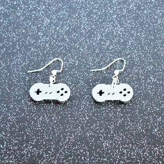 Gray laser cut acrylic Super Nintendo controller charm pendant earrings
