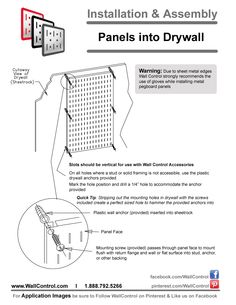 Instructions On How To Install Peg Boards And Tool Board Panels Into Dry Wall Or Sheetrock Easy Guide On Inst How To Install Pegboard Peg Board Metal Pegboard