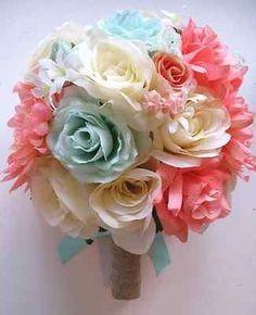 peach coral spring flowers | ... Bouquet Bridal Silk flowers CORAL MINT PEACH CREAM set Centerpiece