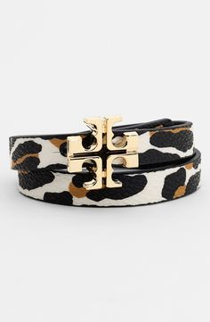 Fierce and gorgeous | Tory Burch Reversible Leather Wrap Bracelet