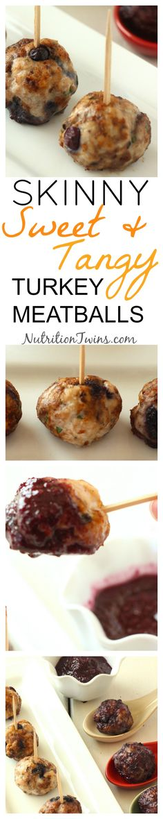 Skinny Turkey Meatballs with Wild Blueberry BBQ Sauce | Sweet, Savory, Delicious | Guilt-free, Perfect Appetizer | Only 59 Calories | For MORE RECIPES, fitness & nutrition tips please SIGN UP for our FREE NEWSLETTER www.NutritionTwins.com
