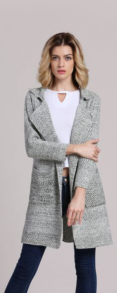 Grey Lapel Long Sleeve Pockets Knit Cardigan ‖SHEIN Fashion Style.Lovely cardigan, warm and comfortable.Great quality&good fit.Great buy for fall and winter.