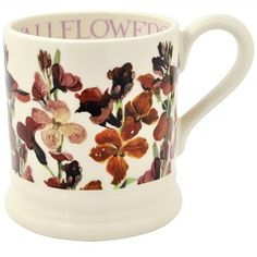 ½ pt Mug Wallflower litho - Nieuw! - Pine-apple - Importeur Emma Bridg