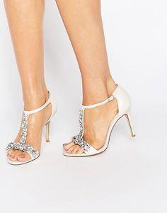 Sparkly T-strap embellished heels