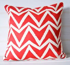 Red Zig Zag Cushion Cover - throw pillow cover - Chevron Style  16ins - Made in the UK