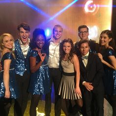 Becca Tobin, Billy Lewis Jr, Samantha Ware, Marshall Williams, Laura Dreyfuss and Noah Guthrie on the Glee set