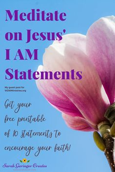 Get your free printable of Jesus' I AM Statements here - no password required! #printable #christianmeditation #spiritualgrowth #christianfaith Women Of Faith, Faith In God, Christian Living, Christian Faith, Hope In Jesus, Christian Meditation, I Am Statements, Strong Faith, Meditation For Beginners