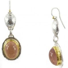 One of a Kind Sterling Silver layered with 24K Gold Earrings featuring Pink Quartz Cabochons by GURHAN