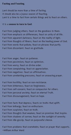 Fasting and Feasting I don't do lent, but I am fasting periodically now and this is a great reminder.