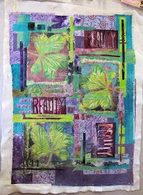 I seem to have taken a very long time getting this third chestnut leaf gelli print piece quilted. It is bigger than the others . Art Journal Pages, Art Pages, Journal 3, Bullet Journal, Gelli Plate Printing, Printing On Fabric, Fabric Painting, Fabric Art, Sketchbook Layout