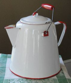 Vintage Red and White Large Enamelware