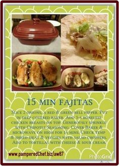 15 min fajitas in the Deep Covered Baker! Pampered Chef Party, Pampered Chef Recipes, Baker Recipes, Cooking Recipes, Rockcrok Recipes, Microwave Recipes, Crockpot Recipes, Chicken Recipes, Chef Dishes