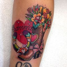Without the bow & heart on the boot. Remove the horseshoe, add a cactus with tunas. Cowboy Boot Tattoo, Cowgirl Tattoos, Badass Tattoos, Cool Tattoos, Awesome Tattoos, Tatoos, Country Girl Tattoos, Country Tattoo, Grandparents Tattoo