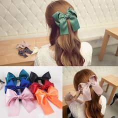 Hot Womens Multicolor Satin Ribbon Bow Hair Clips Barrette Ponytail Holder BRD #Fancyqube