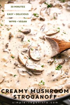 Vegan Mushroom Stroganoff recipe with savory, earthy mushrooms and creamy texture is the BEST! It's super easy to make and easily customizable to be gluten-free, nut-free, and oil-free. #veganstroganoff #pasta #mushroom #veganrecipes #plantbased #wfpb Vegan Meals, Vegan Recipes Easy, Whole Food Recipes, Vegan Mushroom Stroganoff, Stroganoff Recipe, Eating Vegan, Clean Eating Diet, Creamy Mushrooms, Stuffed Mushrooms
