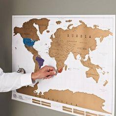 coole kaart voor aan de muur waar je plekken waar je bent geweest open kan krassen