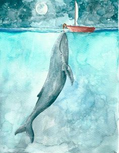 Blue whale and teeny boat <3
